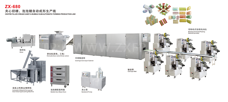 ZX-680 夹心奶糖、泡泡糖自动成形生产线